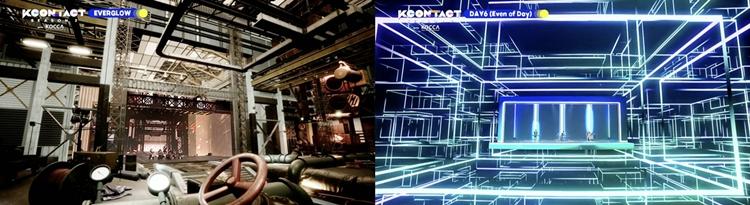 MR이 적용된 케이콘택트 시즌2의 무대 모습. 왼쪽은 회색 톤의 폐 공사장 같은 느낌의 공간, 오른쪽은 푸른 형광빛 직선으로 이뤄진 가상 공간 같은 느낌의 무대.