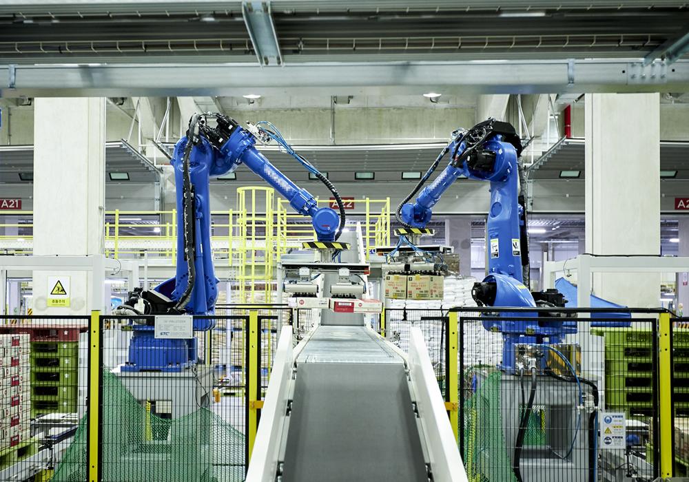 인공지능 알고리즘을 통해 다양한 크기의 박스를 옮기는 로봇기반 디팔레타이저 사진. 컨베이어 벨트를 사이에 두고 설치된 디팔레타이저가 많은 양의 박스를 손쉽게 옮길 준비를 하고 있다.
