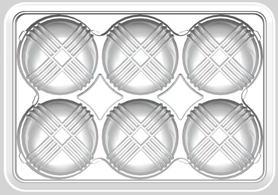 기존 미국에서 판매했던 비비고 만두 트레이 이미지. 총 6개의 만두가 담길 수 있도록 제작되었다. 간장 소스를 담을 수 있는 공간이 없는 트레이도 활용도가 좁다는 게 단점이었다.