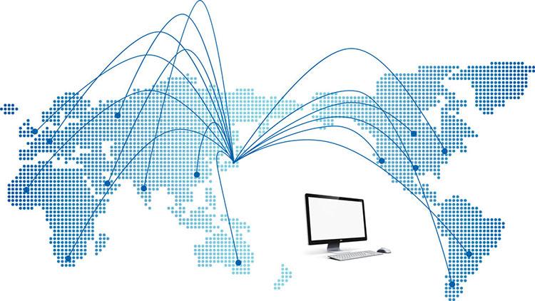 하나의 컴퓨터가 만들어지기 위해서는 전 세계 공장의 분업으로 첨단의 컴퓨터가 만들어지고 있다는 내용을 담은 세계 지도 사진. 한국과 세계 여러나라와 점선으로 이어진 모습이 그려져있고, PC 사진이 삽입되어 있다.