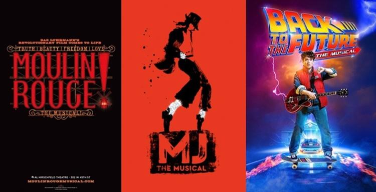 왼쪽부터 검은 바탕에 붉은 글씨로 MOULIN ROUGE라고 적혀있는 '물랑루즈' 포스터, 빨간 바탕에 마이클 잭슨이 포즈를 취하고 있는 그림이 그려진 'MJ' 포스터, 맨 오른쪽에는 도로 위에서 스케이트 보드를 타며 기타를 들고 있는 소년의 모습이 그려진 '백투더퓨처' 포스터가 있다.