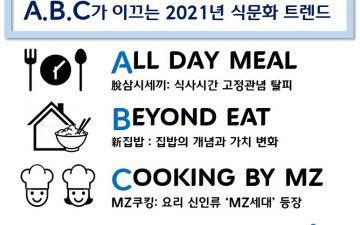 2021 식문화 트렌드 전망… 2021년 집밥 생활, A.B.C가 이끈다