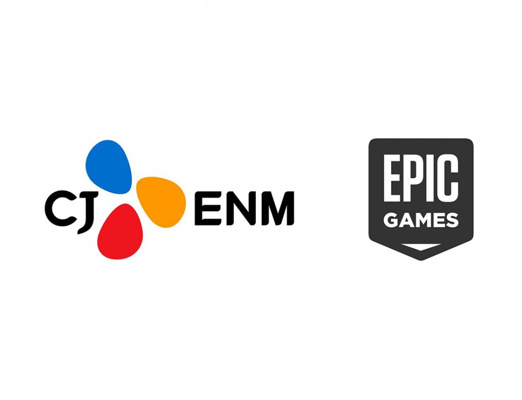 'CJ ENM, '버추얼 프로덕션' 본격화, 차세대 실감콘텐츠 산업 선도한다' 보도자료에 CJENM, EPIC GMAES의 로고 사진이 삽입되어 있다.