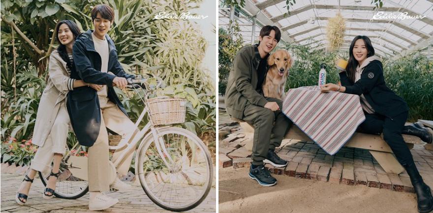 CJ오쇼핑 단독 아웃도어 브랜드 '에디바우어'의 봄/여름 시즌을 제품 화보로 모델은 유연석, 이청아가 에디바우어 제품을 입고 왼쪽에는 자전거를 타는 모습, 오른쪽에는 식물원 내 테이블에서 반려견과 함께 포즈를 취하고 있다.