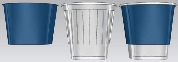 컵만둣국컵 패키징의 모습. 맨 왼쪽에는 외컵, 가운데에는 빗살무늬가 있는 내컵, 맨 오른 쪽에는 이 두 컵이 결착된 이중컵의 모습.