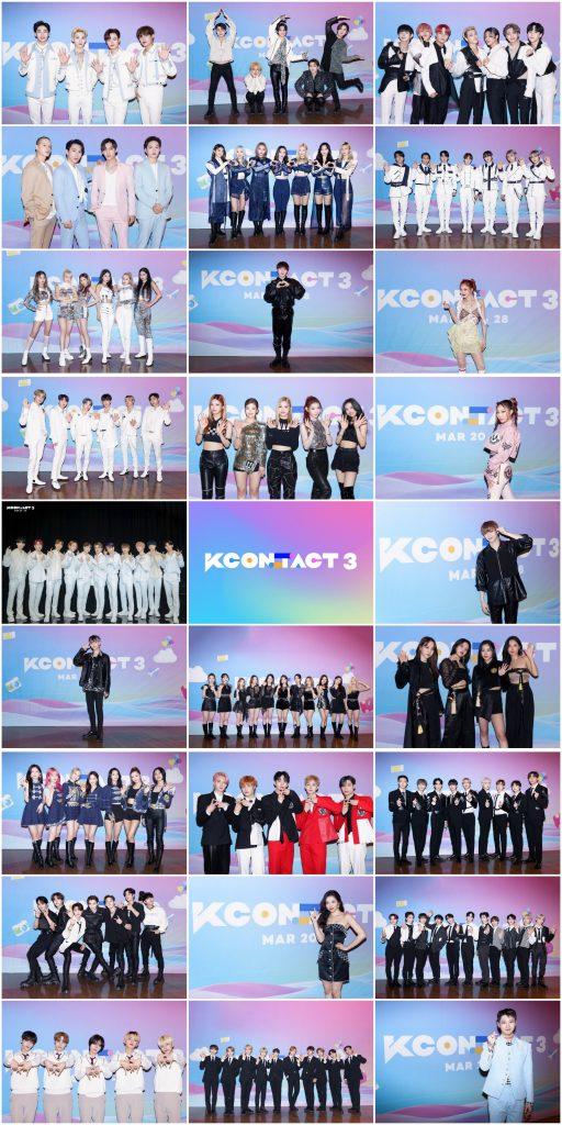 '케이콘택트3'에 참여한 26개팀이 '케이콘택트3' 포토존 앞에서 포즈를 취하는 모습으로, 모자이크 형태로 이어붙여있다.