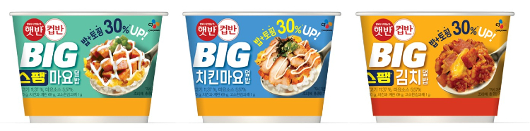 CJ제일제당이 주요 소비층인 MZ세대를 사로잡기 위해 새롭게 선보인 '햇반컵반 BIG' 이미지로 왼쪽부터 스팸마요덮밥, 치킨마요덮밥, 스팸김치덮밥이 선보인다.