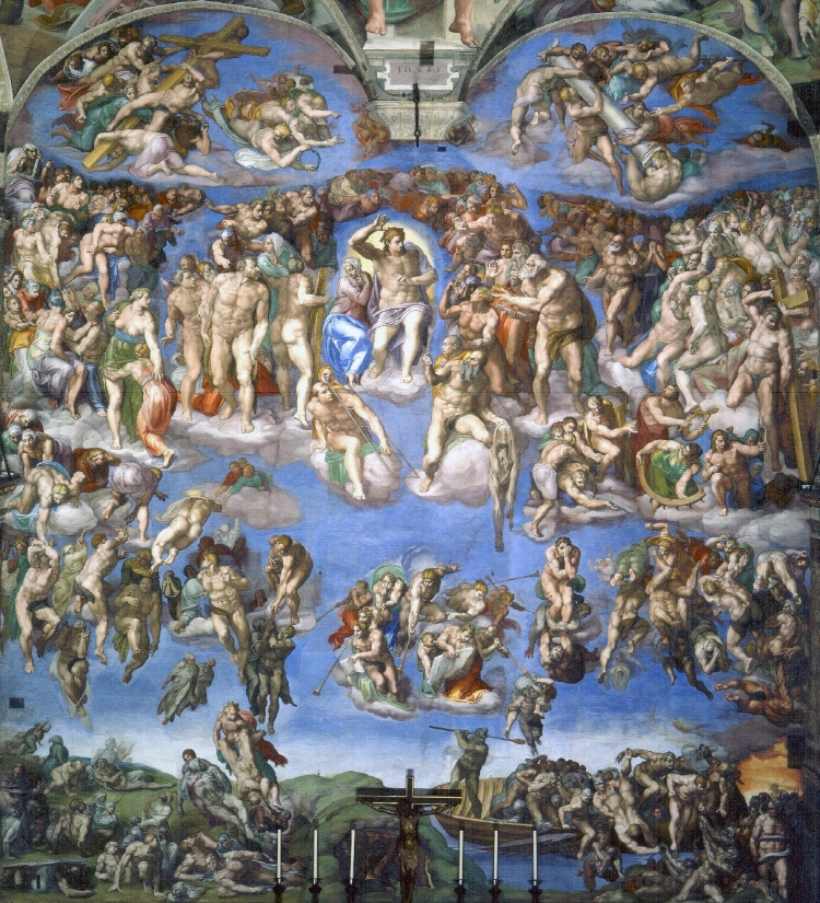 미켈란젤로의 마스터피스 중 하나인 '최후의 심판' 그림이다.