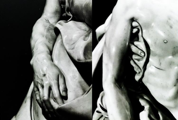 피에타 조각상 클로즈업 이미지로 왼쪽은 그리스도 팔의 힘줄과 손에 난 못박힌 상처, 오른쪽에는 마리아가 그리스도를 안을 때의 손가락과 근육의 미세한 움직임이 잘 표현된 것으로 잘 보이고 있다.
