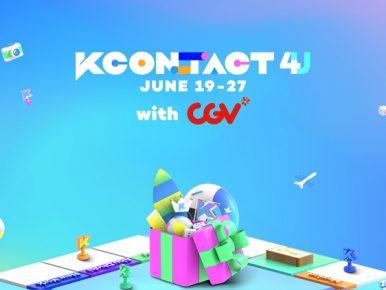 CGV, 세계 최대 K-컬쳐 페스티벌 'KCON:TACT 4 U' 극장 생중계 관련 이미지로, 파란색 배경에 부르마블을 형상화한 보드판 위에 서핑보드, 주사위, 비치볼 등이 선물상자에 담겨있고, 상단엔 'KCON:TACT 4 U JUNE 19-27 with CGV' 텍스트가 삽입되어 있다.