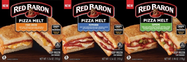CJ제일제당에서 소용량 트렌드를 이끄는 샌드위치 타입의 피자 'Red Baron® Pizza Melts' 라인업으로, 왼쪽부터 four Cheese, Pepperoni, supreme 제품 이미지가 이어져있다. four Cheese 제품에는 빵과 빵사이에 치즈와 소스가, Pepperoni 제품에는 빵과 빵사이에 페퍼로니와 소스가, supreme 제품에는 빵과 빵사이에 각종 채소와 소스가 첨가되어 있다.