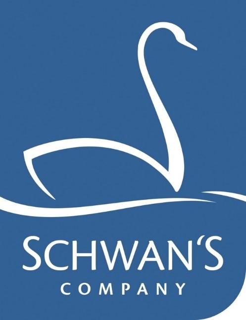슈완스 컴퍼니 공식 로고로, 파란색 바탕에 흰색선으로 백조가 삽입되어 있고, 하단엔 SCHWAN'S COMPANY 텍스트가 삽입되어 있다.