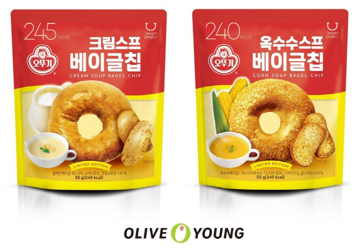 CJ올리브영 '딜라이트 프로젝트', 오뚜기와 컬래버 제품 출시… 스프맛 베이글칩 선봬