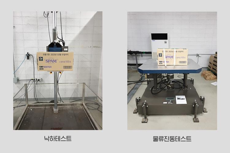 스팸 포장 박스 낙하 테스트와 물류 진동 테스트를 하는 모습. 왼쪽 낙하테스트 이미지에는 스팸 박스가 기계에 의해 들어올려져 있고, 물류진동테스트 이미지에서는 스팸 상자가 기계에 올려져 있다.