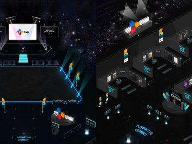 콘서트/컨벤션 형태의 메타버스 채용설명회 '리크루콘'의 온라인 모습으로, 검은색 배경으로 스크린에 CJ ENM로고가 박혀있는 무대와 공간, 그리고 메타머스 상 마련된 다양한 미팅 부스가 설치되어 있는 게 보인다.