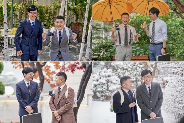 3년 만에 메가 IP로 우뚝 선 tvN '유 퀴즈 온 더 블럭'의 큰 자기, 작은자기인 유재석, 조세호의 모습으로 시계방향으로 봄, 여름, 가을, 겨울 야외 촬영 장면이 연이어 나오고 있다.